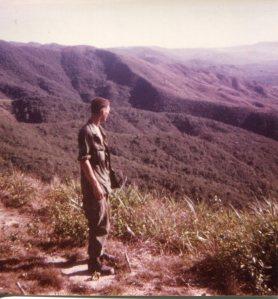 Vietnam soldier overlooking valley