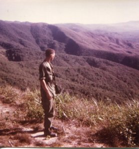 Vietnam soldier overlooking valley